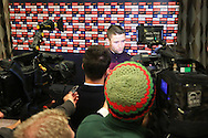 Gary Cahill of England answers questions during a press conference - England Training & Press Conference - UEFA Euro 2016 Qualifying - St George's Park - Burton-upon-Trent - 11/11/2014 Pic Philip Oldham/Sportimage<br /> *Embargoed until Tuesday 11/11/14 10.30pm*