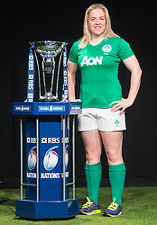 Hurlingham Club, London, January 27th 2016. Ireland Women's Captain Niamh Briggs at the launch of the RBS Six Nations Rugby Tornament. ///FOR LICENCING CONTACT: paul@pauldaveycreative.co.uk TEL:+44 (0) 7966 016 296 or +44 (0) 20 8969 6875. ©2015 Paul R Davey. All rights reserved.