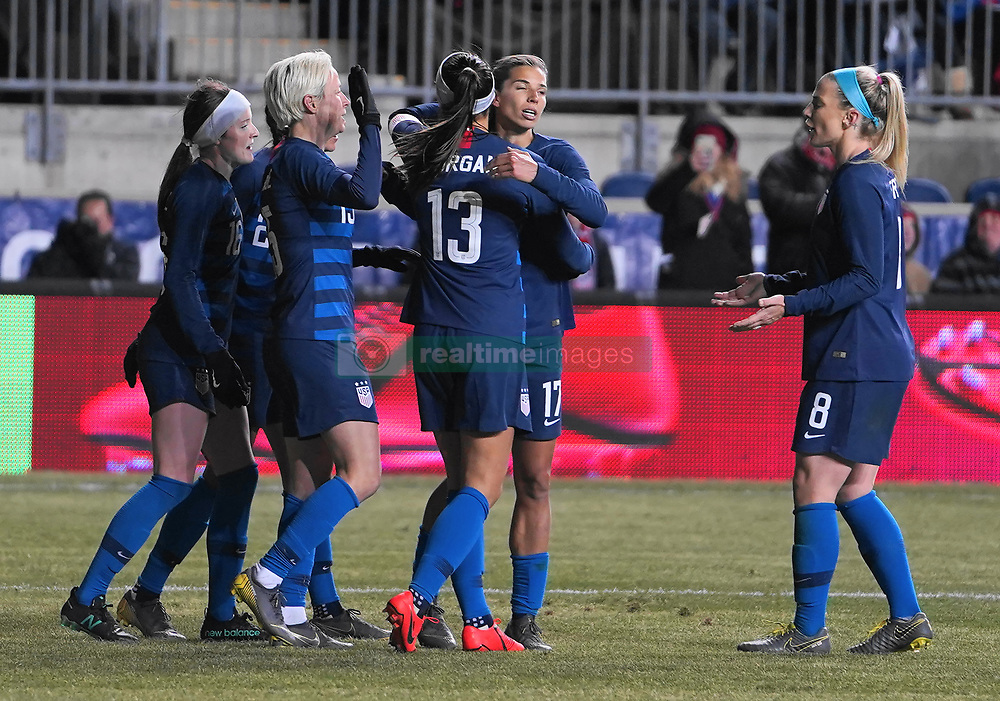 February 28, 2019 - Chester, United States - Team celebration after Alex Morgan  of The United States 99th international goal in her career.during the She Believes Cup football match between The United States and Japan at Talen Energy Stadium on February 27, 2019 in Chester, Pennsylvania, United States. (Credit Image: © Action Foto Sport/NurPhoto via ZUMA Press)