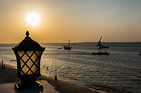 indian ocean seascape at Sunset Stone Town in Unguja aka Zanzibar Island Tanzania East Africa