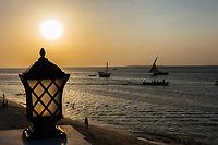 indian ocean seascape at Sunset Stone Town in Unguja aka Zanzibar Island Tanzania East Africa