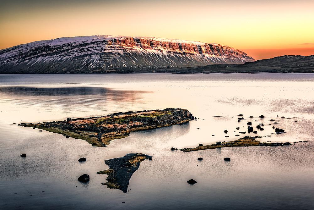 Sunrise at Westfjords in Iceland