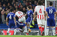 Bruno Martins Indi of Stoke City © shoots and scores his sides 1st goal. Premier league match, Chelsea v Stoke city at Stamford Bridge in London on Saturday 31st December 2016.<br /> pic by John Patrick Fletcher, Andrew Orchard sports photography.