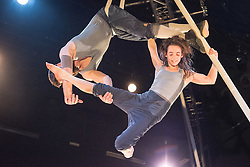© Licensed to London News Pictures. 11/01/2016. London, UK. Ockham's Razor return to the Platform Theatre London with a new full length show with original equipment that transforms simple five-metre poles into a myriad of walkways, spindles, pillars and pendulums. Presented as part of the London International Mime Festival. Featuring Alex Harvey & Emily Nicholl. Photo credit : Tony Nandi/LNP