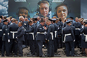 On the 100th anniversary of the Royal Air Force RAF and before a march andflypast of 100 aircraft formations representing Britains air defence history which flew over central London, service personnel prepare by A RAF recruiting hoarding, on 10th July 2018, in London, England.