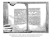 Copy of a Portion of the Samaritan Pentateuch From the book 'Those holy fields : Palestine, illustrated by pen and pencil' by Manning, Samuel, 1822-1881; Religious Tract Society (Great Britain) Published in 1874