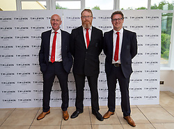 CARDIFF, WALES - Wednesday, June 1, 2016: Wales' head of pubic affairs Ian Gwyn Hughes, head of international affairs Mark Evans, Rob Dowling wearing T.M. Lewin suits before a charity send-off gala dinner at the Vale Resort Hotel ahead of the UEFA Euro 2016. (Pic by David Rawcliffe/Propaganda)