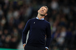Derby County manager Gary Rowett reacts