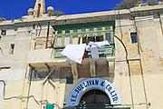 Old merchant house with balcony about warehouse area, Valletta, Malta F E Sullivan ship supply business premises