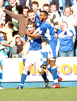 Photo: Tony Oudot.<br />Millwall v Nottingham Forest. Coca Cola League 1. 07/04/2007.<br />Neil Harris of Millwall celebrates his goal with team mates