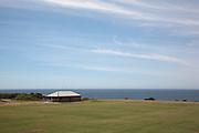 Sports Ground give a sparse and minimalist landscape on the Coogee to Bondi beach Coastal walk , Sydney