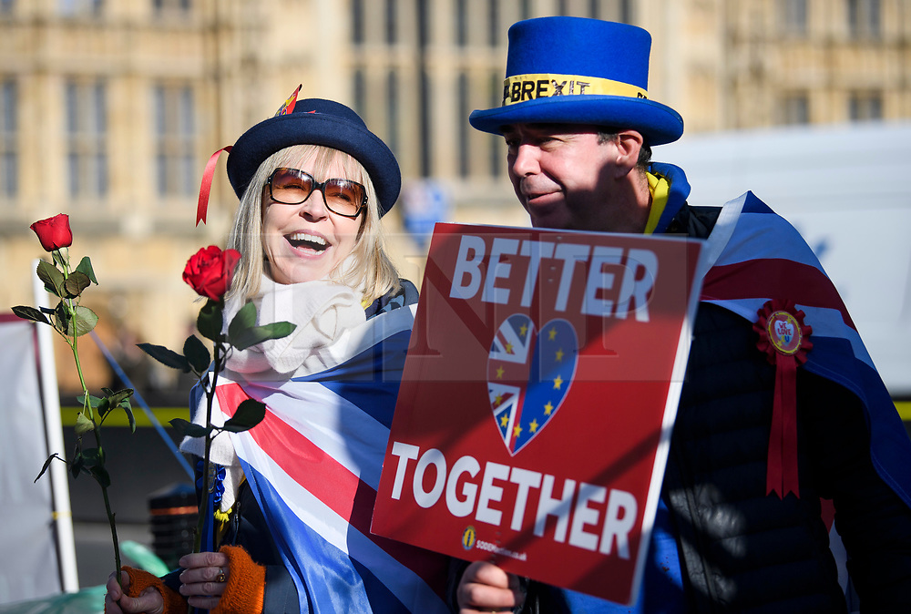 © Licensed to London News Pictures. 14/02/2019. London, UK. Anti Brexit campaigners outside the Houses of Parliament in Westminster, on the day that MPs are due to take part in further debates and votes on Brexit. A series of amendments are being tabled to try to change the direction of Brexit, but a vote on a deal will not be held today as was originally planned. Photo credit: Ben Cawthra/LNP