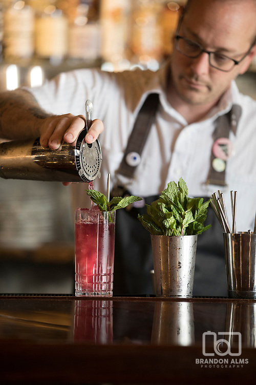 Bartender pouring cocktail photo by Brandon Alms Photography located in Springfield, Missouri.