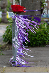 Purple ribbons flutter in the breeze. With a fourth person charged for the murder of 17 year-old Jodie Chesney, purple themed tributes, including a garden,  can be seen at St Neot's Open space. Romford, London, May 27 2019.