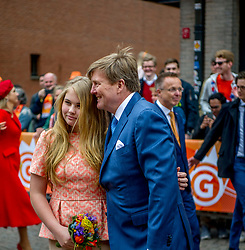 King Willem Alexander with Princess Amalia attending King's Day Celebrations in Groningen, Netherlands, on April 27, 2018. Photo by Robin Utrecht/ABACAPRESS.COM