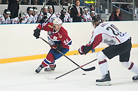 Ishockey<br /> 17. April 2015<br /> Landskamp<br /> Bergenshallen<br /> Norge - Latvia 2 - 1<br /> Mathis Olimb (L) , Norge<br /> Rodrigo Abols (R) , Latvia<br /> Foto: Astrid M. Nordhaug