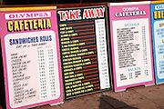 Cafe menu boards for fast food, Great Yarmouth seaside resort, Norfolk, England