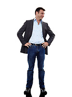 one caucasian business man standing mocking in silhouette on white background