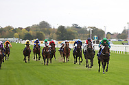 BROKEN SPEAR (1) ridden by Kevin Stott and trained by Tony Coyle winning The British EBF supporting Racing To School Novice Stakes over 5f (£15,000) during the Countryside Raceday, October Finale at York Racecourse, York, United Kingdom on 12 October 2018. Pic Mick Atkins