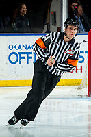 KELOWNA, BC - MARCH 7: Referee Duncan Brow skates at the Kelowna Rockets against the Lethbridge Hurricanes at Prospera Place on March 7, 2020 in Kelowna, Canada. (Photo by Marissa Baecker/Shoot the Breeze)