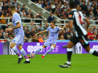 NEWCASTLE UPON TYNE, ENGLAND - SEPTEMBER 17: Luke Ayling of Leeds United looks to knock the ball into space during the Premier League match between Newcastle United and Leeds United at St. James Park on September 17, 2021 in Newcastle upon Tyne, England. (Photo by MB Media)