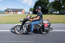 Vern Acres of CAN rides his 1914 Henderson during the Motorcycle Cannonball Race of the Century. Stage-2 from York, PA to Morgantown, WV. USA. Sunday September 11, 2016. Photography ©2016 Michael Lichter.