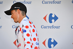 July 18, 2017 - Romans-Sur-Isere, FRANCE - French Warren Barguil of Team Sunweb celebrates on the podium in the red polka-dot jersey for best climber after the sixteenth stage of the 104th edition of the Tour de France cycling race, 165km from Le Puy-en-Velay to Romans-sur-Isere, France, Tuesday 18 July 2017. This year's Tour de France takes place from July first to July 23rd. BELGA PHOTO DAVID STOCKMAN (Credit Image: © David Stockman/Belga via ZUMA Press)