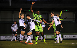 Forest Green Rovers players appeal for a corner- Mandatory by-line: Nizaam Jones/JMP - 16/01/2021 - FOOTBALL - innocent New Lawn Stadium - Nailsworth, England - Forest Green Rovers v Port Vale - Sky Bet League Two