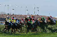 National Hunt Horse Racing - 2019 Randox Health Grand National Festival - Saturday, Day Three (Grand National Day)<br /> <br /> 1st placed D N Russell on 3 Tiger Roll to the right of the field as they jump the Water Jump on his way to winning the the 17:15 Randox Health Grand National Handicap Chase (Grade 3, Class 1), at Aintree Racecourse.<br /> .<br /> <br /> COLORSPORT/WINSTON BYNORTH