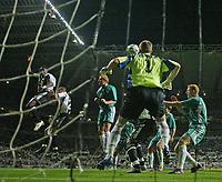 Photo: Andrew Unwin.<br /> Newcastle United v Levadia Tallinn. UEFA Cup. 28/09/2006.<br /> Newcastle's Obafemi Martins (L) scores his team's first goal.