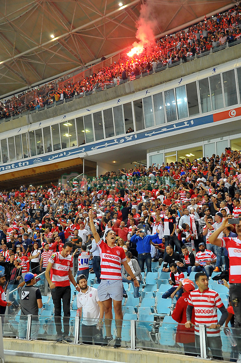 October 22, 2017 - Rades, Tunisia - CA Suporters during the Semi-final return of the CAF Cup between Club Africain (CA) and Supersport United FC of South Africa at the stadium of Rades  in Tunis..Club Africain lost (1-3) against the South African Super Sport Utd who will face TP Mazembe in the final. (Credit Image: © Chokri Mahjoub via ZUMA Wire)
