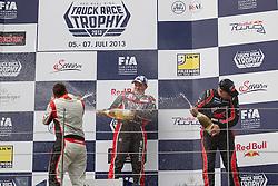 06.07.2013, Red Bull Ring, Spielberg, AUT, Truck Race Trophy, Renntag 1, im Bild Adam Lacko, (CZE, MKR Technology, #3, 1. Platz), Norbert Kiss, (HUN, Oxxo Energy Truck Race Team, #10, 2. Platz), Mika Maekinen, (FIN, Mika Maekinen, #7, 3. Platz) // during the Truck Race Trophy 2013 at the Red Bull Ring in Spielberg, Austria, 2013/07/06, EXPA Pictures © 2013, PhotoCredit: EXPA/ M.Kuhnke