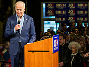 01 MAY 2019 - DES MOINES, IOWA: Vice President JOE BIDEN makes his campaign speech at his campaign rally in Des Moines Wednesday night. Biden is running to be the Democratic nominee for the US Presidency in 2020. He is campaigning in Iowa City and Des Moines today. Iowa traditionally hosts the the first selection event of the presidential election cycle. The Iowa Caucuses will be on Feb. 3, 2020.                 PHOTO BY JACK KURTZ