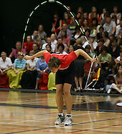 Loughborough, England - Saturday 31 July 2010: A Team USA competitor in action during the World Rope Skipping Championships held at Loughborough University, England. The championships run over 7 days and comprise junior categories for 12-14 year olds in the World Youth Tournament, 15-17 year olds male and female championships, and any age open championships. In the team competitions, 6 events are judged, the Single Rope Speed, Double Dutch Speed Relay, Single Rope Pair Freestyle, Single Rope Team Freestyle, Double Dutch Single Freestyle and Double Dutch Pair Freestyle. For more information check www.rs2010.org. Picture by Andrew Tobin/Picture It Now.