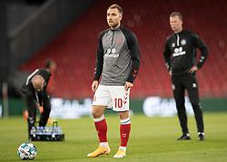 Christian Eriksen (Danmark) under opvarmningen til UEFA Nations League kampen mellem Danmark og Belgien den 5. september 2020 i Parken, København (Foto: Claus Birch).