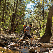 Hiking South Fork Trail which follows the south fork of Cave Creek Canyon on the east side of the Chiricahua Mountains.<br /> <br /> Photography by Jill Richards