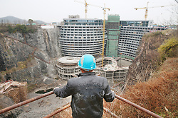 January 2, 2018 - Shanghai, Shanghai, China - Shanghai, CHINA-2nd January 2018:(EDITORIAL USE ONLY. CHINA OUT) ..Shimao Wonderland Quarry Hotel,the world's first five-star hotel built in quarry is under construction in Shanghai, January 2nd, 2018. The hotel is designed by renowned designer Martin Jochman. (Credit Image: © SIPA Asia via ZUMA Wire)