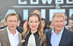 © Licensed to London News Pictures. 11/08/2011. London, England.Daniel Craig  Olivia Wilde and Harrison Ford attends the U.K premiere of Cowboys and Aliens Starring Harrison Ford and Daniel Craig at the O2 Cineworld London Photo credit : ALAN ROXBOROUGH/LNP
