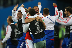 June 19, 2018 - Saint Petersburg, Russia - Players of the Russia national football team  celebrates after the 2018 FIFA World Cup match, first stage - Group A between Russia and Egypt at Saint Petersburg Stadium on June 19, 2018 in St. Petersburg, Russia. (Credit Image: © Igor Russak/NurPhoto via ZUMA Press)