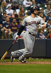 May 8, 2018 - Milwaukee, WI, U.S. - MILWAUKEE, WI - MAY 08: Cleveland Indians First base Yonder Alonso (17) makes contact during a MLB game between the Milwaukee Brewers and Cleveland Indians on May 8, 2018 at Miller Park in Milwaukee, WI. The Brewers defeated the Indians 3-2.(Photo by Nick Wosika/Icon Sportswire) (Credit Image: © Nick Wosika/Icon SMI via ZUMA Press)