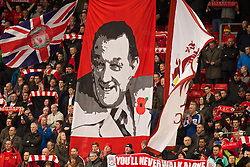 09.11.2013, Anfield, Liverpool, ENG, Premier League, FC Liverpool vs FC Fulham, 11. Runde, im Bild Liverpool supporters banner of Bob Paisley with, Red Poppy // during the English Premier League 11th round match between Liverpool FC and Fulham FC at Anfield in Liverpool, Great Britain on 2013/11/09. EXPA Pictures © 2013, PhotoCredit: EXPA/ Propagandaphoto/ David Rawcliffe<br /> <br /> *****ATTENTION - OUT of ENG, GBR*****