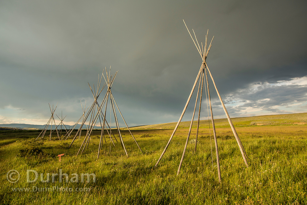 Tipi frames from a Nez Perce encampment at Big Hole National Battlefield, Montana. The tipi frames represent the Nez Perce home and families that were present when the U.S. Cavalry attacked at pre--dawn in 1877 killing many women and children. Nez Perce warriors put up a fierce resistance and held the Cavalry at bay for two days while their people re-grouped and retreated from the Big Hole Valley.