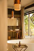 Guest room bath detail, Chinzombo Safari lodge, Luangwa Valley . Zambia, Africa