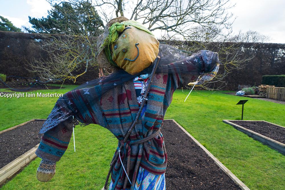 Scarecrow in Royal Botanic Garden Edinburgh, Scotland UK