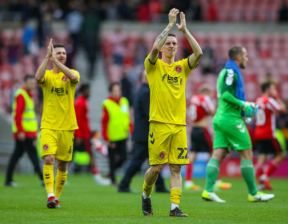 Fleetwood Town's Ashley Hunter applauds the fans after the match<br /> <br /> Photographer Alex Dodd/CameraSport<br /> <br /> The EFL Sky Bet League One - Sunderland v Fleetwood Town - Saturday September 8th 2018 - Stadium of Light - Sunderland<br /> <br /> World Copyright © 2018 CameraSport. All rights reserved. 43 Linden Ave. Countesthorpe. Leicester. England. LE8 5PG - Tel: +44 (0) 116 277 4147 - admin@camerasport.com - www.camerasport.com
