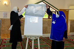 © Licensed to London News Pictures. 07/04/2021. London, UK. Camilla, Duchess of Cornwall, wearing a protective face covering and headscarf, unveils a plaque commemorating her visit to the London Islamic Cultural Society and Mosque (also known as Wightman Road Mosque) in Haringey, north London. The Mosque was formed by a small group of Guyanese Muslims and now supports over 30 different nationalities and community in Haringey and surrounding boroughs. Photo credit: Dinendra Haria/LNP