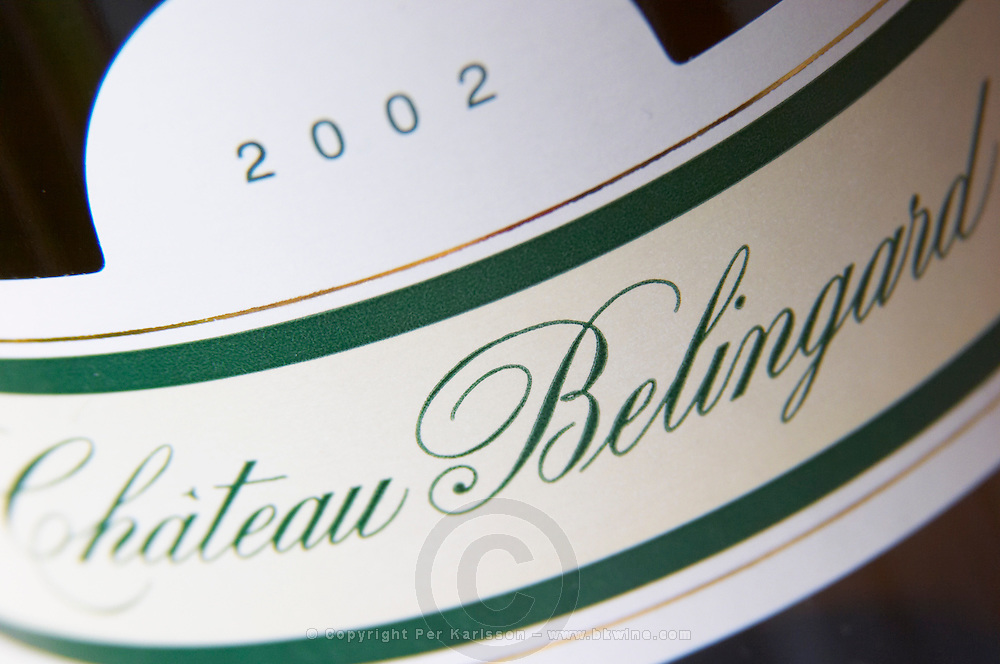 2002 Chateau Belingard. Detail of label. Chateau Belingard Bergerac Dordogne France