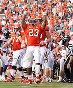 Virginia Cavaliers cornerback Brendan Morgan (23) celebrates a touchdown during the second half of an NCAA football game against the Richmond Spiders Saturday September, 1, 2012 at Scott Stadium in Charlottesville, Va. Virginia defeated Richmond 43-19.