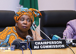 ADDIS ABABA, Jan. 29, 2014  Chairperson of the African Union (AU) Commission Nkosazana Dlamini-Zuma (C) attends a press briefing at the African Union headquarters in Addis Ababa, Ethiopia, Jan. 29, 2014. Africa needs to concentrate on exploiting its resources to change the current situation of being net food importer into the situation whereby it produces enough food to feed itself and export to the rest of the world, noted Nkosazana Dlamini-Zuma. (Xinhua/Meng Chenguang) (Credit Image: © Meng Chenguang/Xinhua/ZUMAPRESS.com)