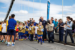 England World Cup Winner Lawrence Dallaglio encourages a girl to step up and kick the ball as Local Junior Schools take part in activities on the iconic Clifton Suspension Bridge with Bristol Rugby Players - Mandatory byline: Rogan Thomson/JMP - 07966 386802 - 14/07/2015 - SPORT - RUGBY UNION - Bristol, England - Clifton Suspension Bridge - Webb Ellis Cup visits Bristol as part of the 2015 Rugby World Cup Trophy Tour